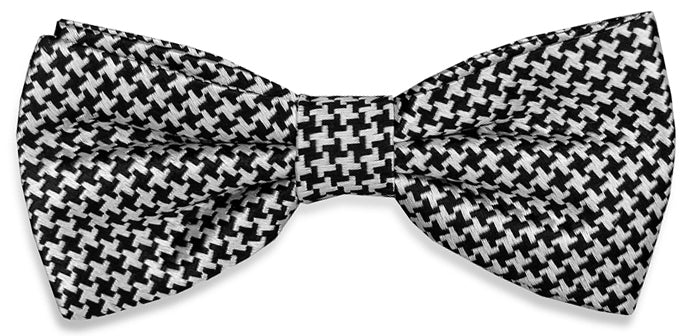 Houndstooth: Boys Bow Tie - Black/White