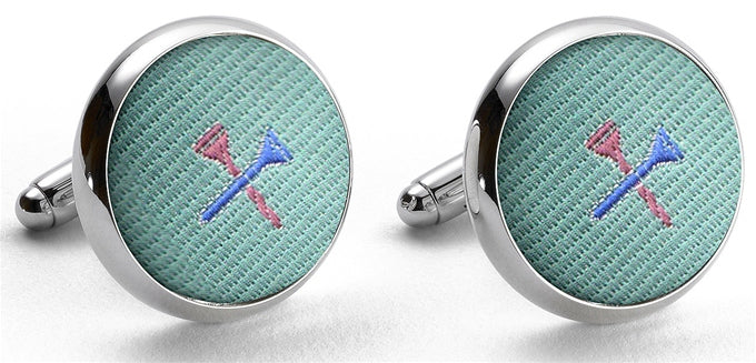 Tee Time: Woven Silk Cufflinks - Mint