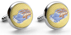 American Made Collared Greens Cufflinks - Silk Yellow Made in the USA