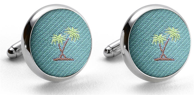 Palm Trees: Cufflinks - Aqua