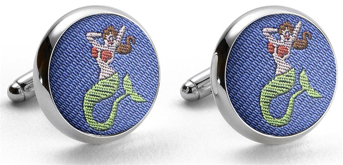 American Made Collared Greens Cufflinks - Silk Made in the USA