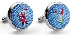 American Made Collared Greens Cufflinks - Silk Blue Made in the USA