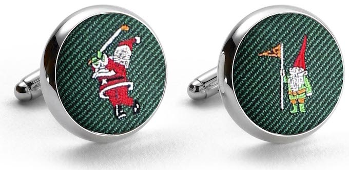 American Made Collared Greens Cufflinks - Silk Green Made in the USA