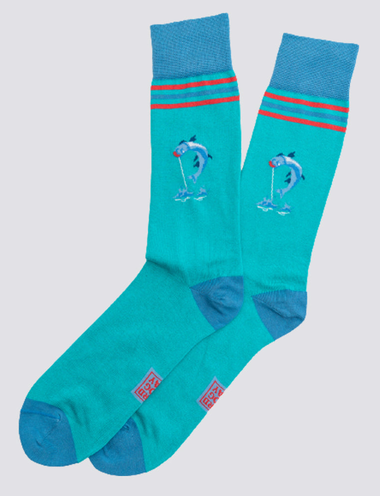 American Made Collared Greens Socks Blue Made in the USA