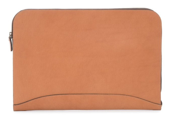 Grant: Zippered Leather Envelope - Tan