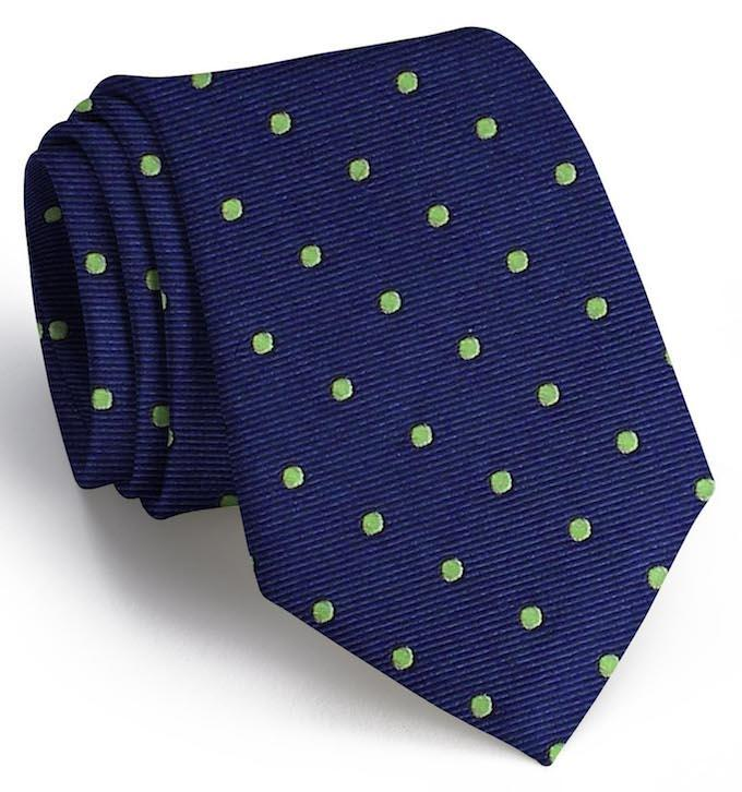 American Made Collared Greens Tie Dark Blue/Lime Made in the USA