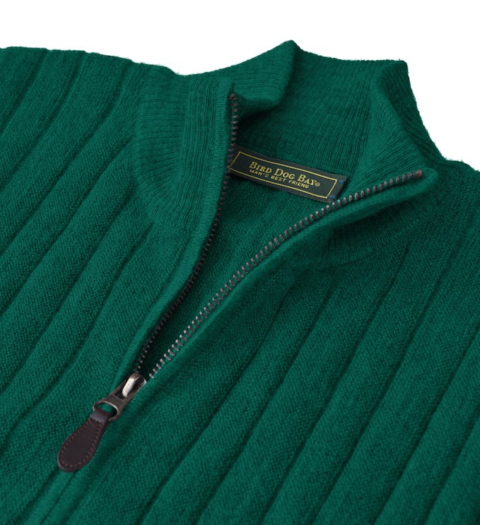 Baby Alpaca Sweater: Quarter Zip - Emerald