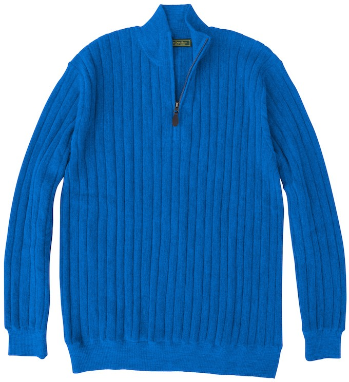 Baby Alpaca Sweater: Quarter Zip - Blue Jay