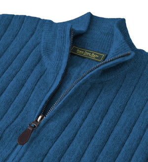 Baby Alpaca Sweater: Quarter Zip - Ocean Blue