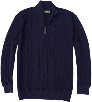 Baby Alpaca Sweater: Quarter Zip - Navy