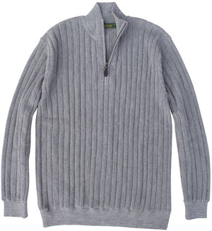 Baby Alpaca Sweater: Quarter Zip - Slate