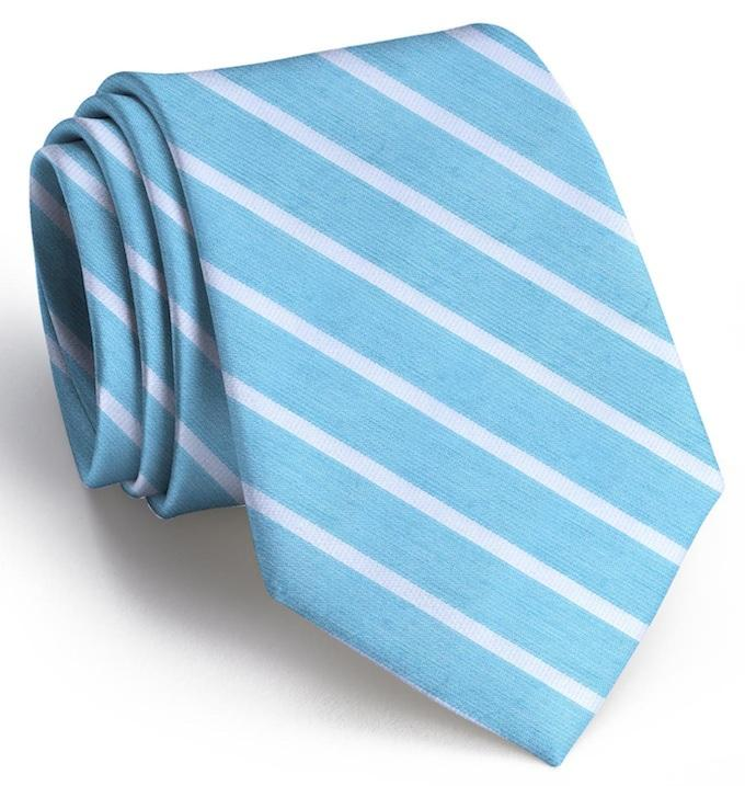 American Made Collared Greens Tie Turquoise/White Made in the USA