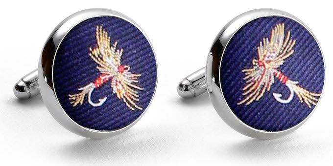 American Made Collared Greens Cufflinks - Silk Navy Made in the USA