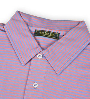Haddon: Polo Shirt - Blue/Coral