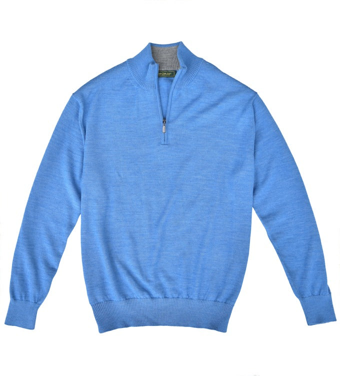 Royal Alpaca Sweater: Quarter Zip - Coastal