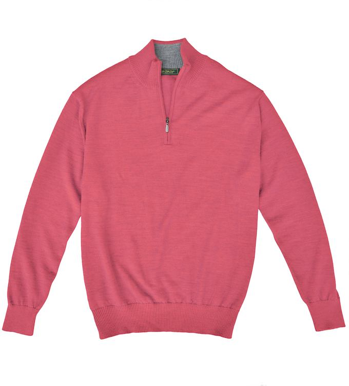 Royal Alpaca Sweater: Quarter Zip - Coral