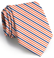 American Made Collared Greens Tie Orange/Navy Made in the USA
