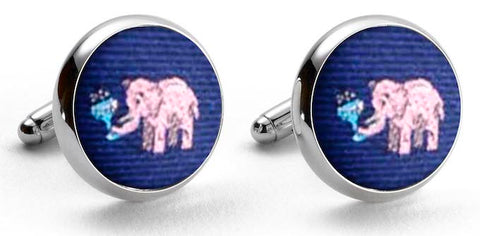 Pink Elephants: Woven Silk Cuffllinks - Navy