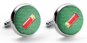 Shotgun Shells: Woven Silk Cuffllinks - Green
