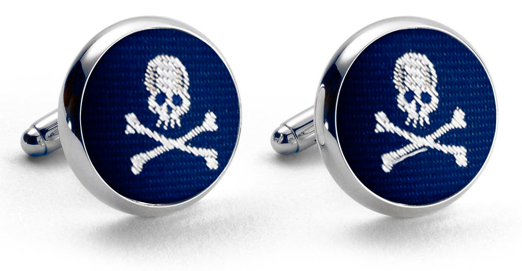 Skull & Crossbones: Woven Silk Cuffllinks - Navy