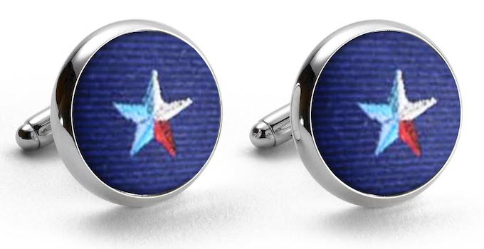 Texas Star: Woven Silk Cuffllinks - Navy