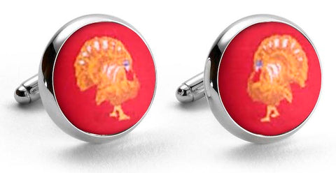 Turkey: Woven Silk Cuffllinks - Red