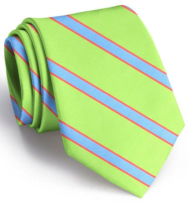 American Made Collared Greens Tie Lime/Blue Made in the USA