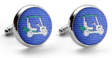 Golf Cart: Woven Silk Cuffllinks - Blue