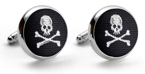 Skull & Crossbones: Woven Silk Cuffllinks - Black