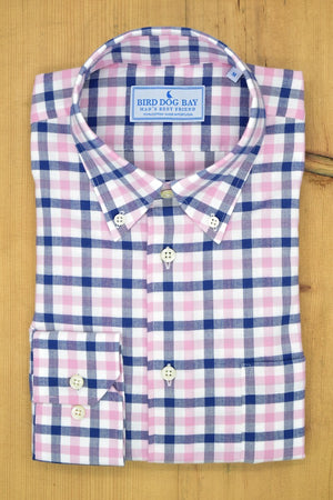 Linden: Button Down Shirt - Pink/Navy