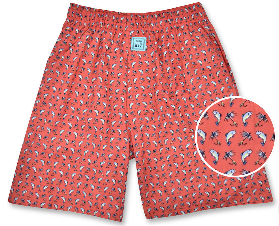 Gone Fishin': Boxers - Coral (S)