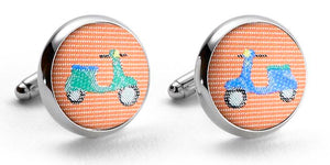 Vespas: Woven Silk Cufflinks - Orange