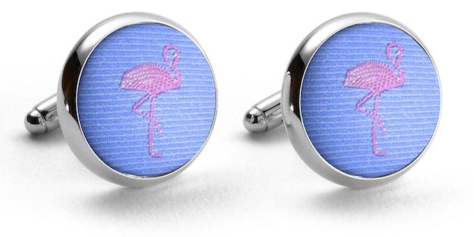 Flamingos: Woven Silk Cufflinks - Light Blue