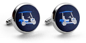Golf Cart: Woven Silk Cufflinks - Navy