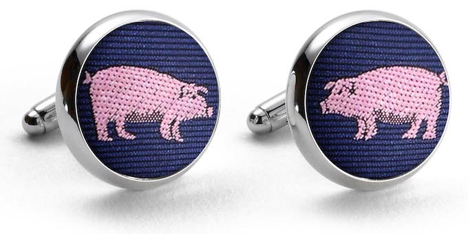 Pigs: Woven Silk Cufflinks - Navy
