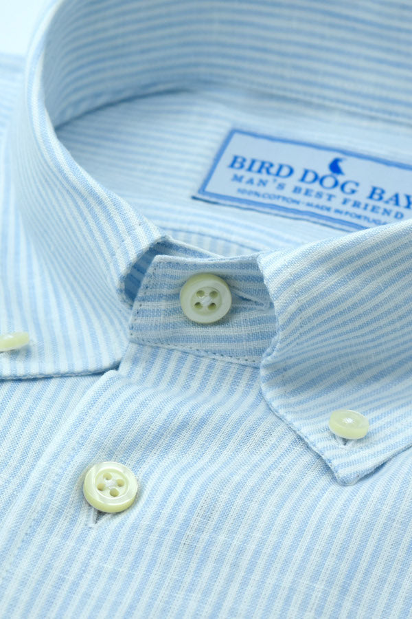 Royce: Linen/Cotton Blend Shirt - Blue