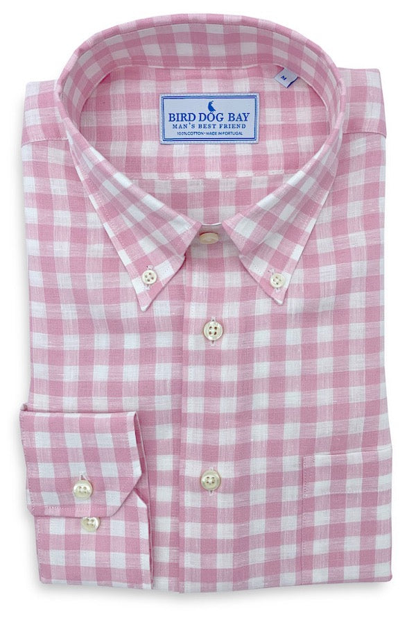 Garrett: Linen/Cotton Blend Shirt - Pink