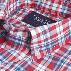 The Poe Button Down Shirt Red/White/Blue - Collared Greens