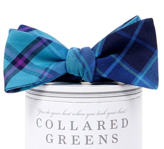 Spyglass Plaid Bow Tie Blue/Green - Collared Greens
