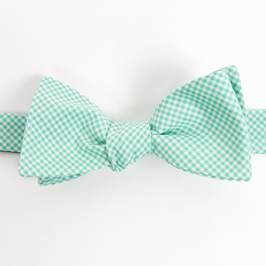 American Made Collared Greens Cotton Self Tie Bow Tie Barbaro Gingham Green