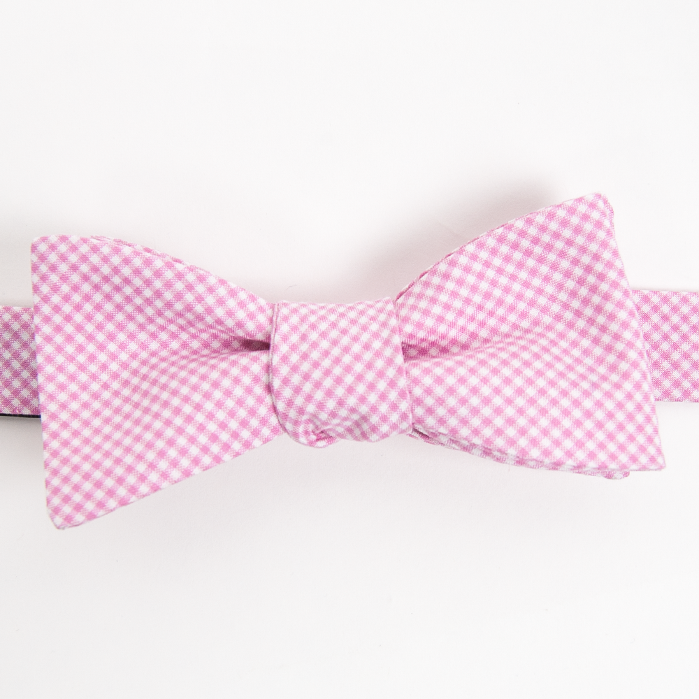 American Made Collared Greens Cotton Self Tie Bow Tie Barbaro Gingham Pink