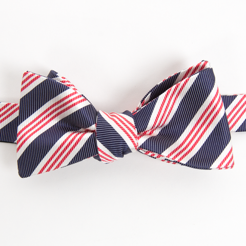 American Made Collared Greens Self Tie Bow Tie Homestead Stripe Navy Red