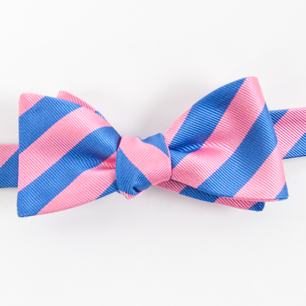 American Made Collared Greens Silk Kapalua Bow Tie Pink Blue