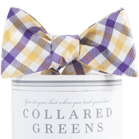 American Made Collared Greens Collegiate Quad Silk Bow Tie Purple Gold Gingham