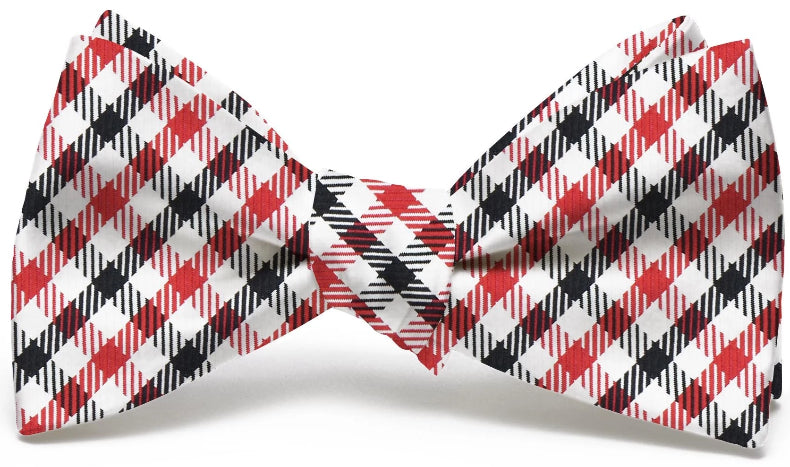 American Made Collared Greens Bow Tie Red/Black Made in the USA