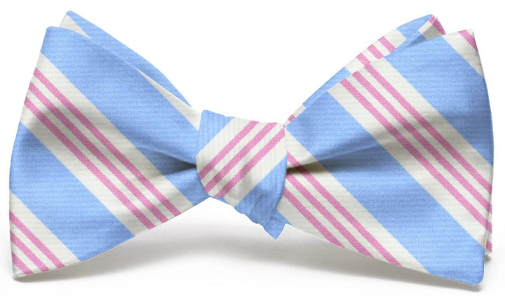American Made Collared Greens Bow Tie Light Blue/Pink Made in the USA