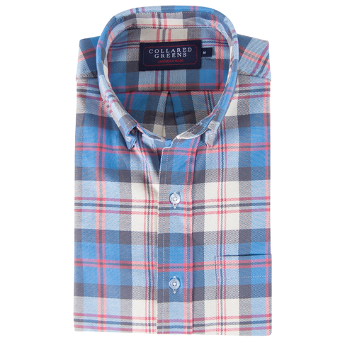 American Made Collared Greens Twill Bailey Button Down Shirt Tailored Fit Blue Red White