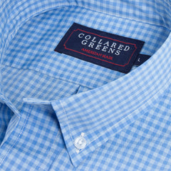 American Made Collared Greens Belle Button Down Shirt Tailored Fit Blue Colonial
