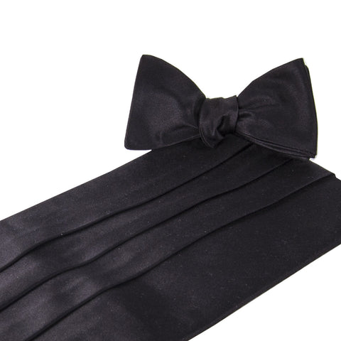 Classic Solid Black Satin Cummerbund and Bow Tie Set
