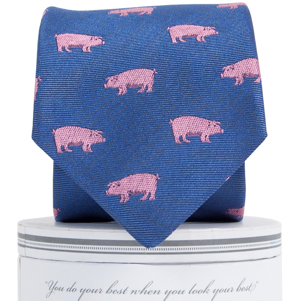Boys Pigs Tie Royal Boys Ties - Collared Greens American Made